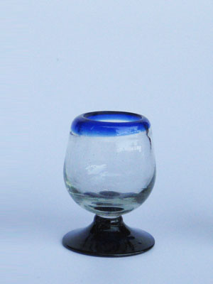 Wholesale MEXICAN GLASSWARE / 'Cobalt Blue Rim' tequila sippers  / Sip your favourite tequila with these iconic cobalt blue rim sipping glasses. You may also serve lemon juice or other chasers.